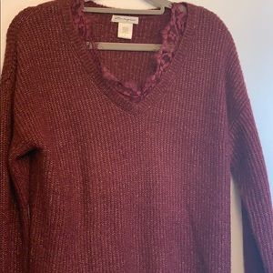 Beautiful burgundy sweater w/ lace